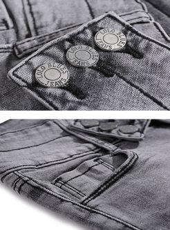 Grey High Waisted Slim Denim Pants