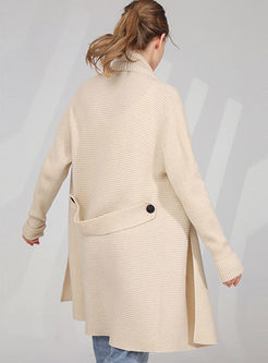 Solid Color Loose Sweater Coat