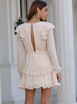 V-neck Long Sleeve Tassel Mini Dress