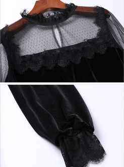 Black Transparent Mesh Patchwork Velvet Blouse