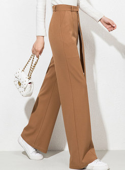 Casual High Collar Loose Straight Pants