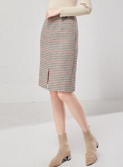 High Waisted Split Houndstooth Skirt