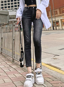 Black High Waisted Denim Skinny Pants
