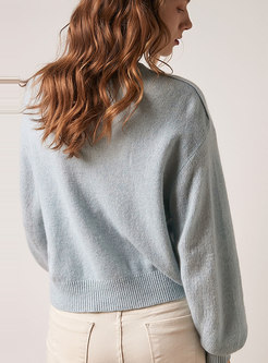 Solid Color O-neck Loose Sweater