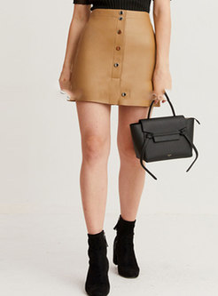 Camel High Waisted A Line Mini Leather Skirt