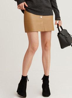 Camel High Waisted A Line Mini Leather Skirt