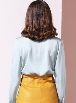 Solid Color V-neck Lace Patchwork Blouse