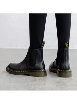 Casual O-head Leather Short Boots