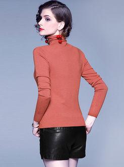 Brief Turtleneck Pullover Slim Sweater