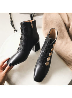 Square Head Chunky Heel Short Boots