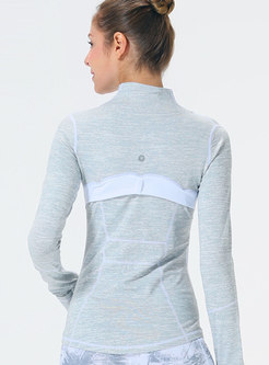 Casual Color-blocked Slim Zipper Sport Jacket