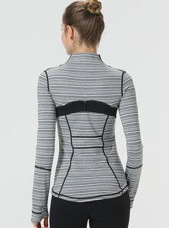 Casual Color-blocked Slim Zipper Sport Jacket