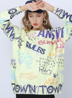 Print Letter Pullover Loose Sweater