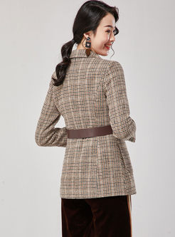 Notched Houndstooth Wool Blended Coat