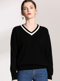 V-neck Color-blocked Loose Wool Sweater