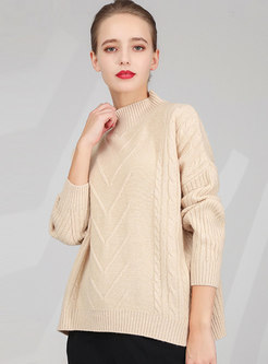 Stand Collar Loose Pullover Sweater