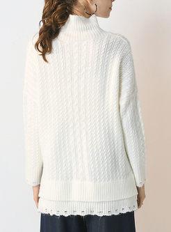 Turtleneck Openwork Asymmetric Loose Sweater