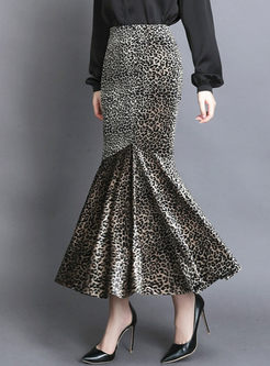 High Waisted Leopard Velvet Mermaid Skirt