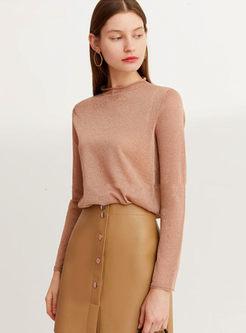 Half Turtleneck Pullover Slim T-shirt