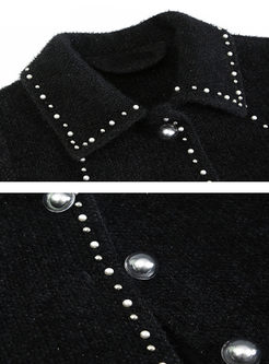 Black Lapel Single-breasted Short Coat