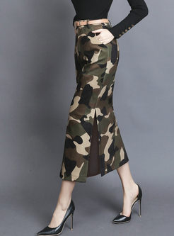 High Waisted Camouflage Slit Midi Skirt