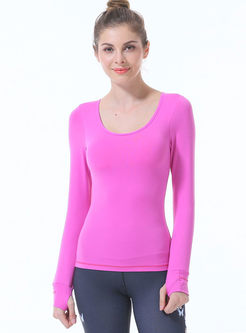 Scoop Neck Long Sleeve Backless Gym Top