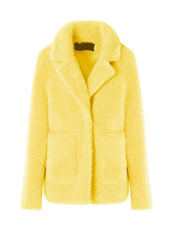 Yellow Fleece Lapel Thick Teddy Coat