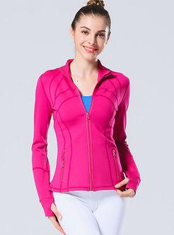 Casual Print Quick-drying Slim Yoga Jacket