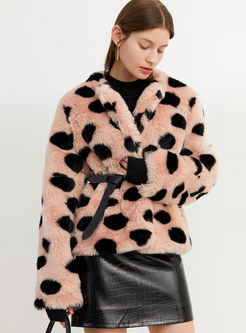O-neck Long Sleeve Dot Faux Fur Coat
