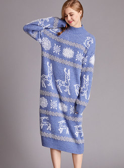 Casual Print Pullover Long Sweater Dress