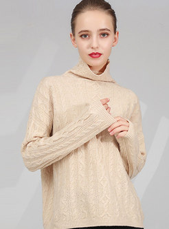 High Collar Pullover Loose Sweater