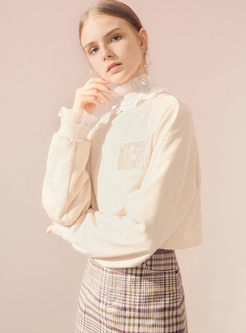 O-neck Loose Pullover Tassel Diamond Sweatshirt