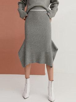 Casual Elastic Knit Bodycon Mermaid Skirt