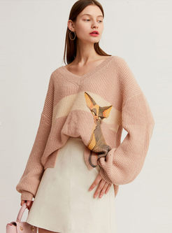 V-neck Cat Print Pullover Loose Sweater
