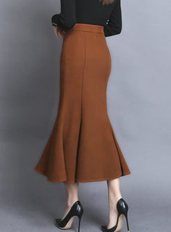Solid Color High Waisted Mermaid Skirt
