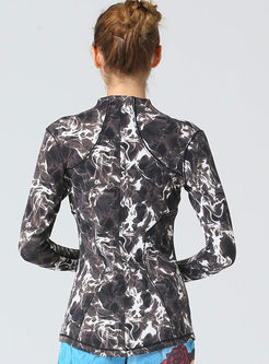 Stand Collar Long Sleeve Full Zipper Jacket