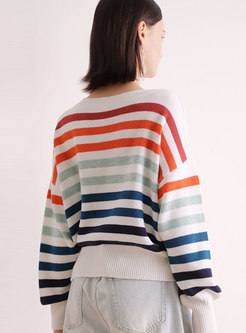 Casual Muti-color Lantern Sleeve Loose Sweater