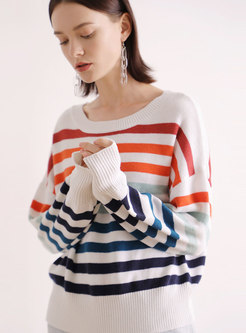 Casual Muti-color Lantern Sleeve Loose Sweater