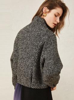 Stand Collar Tweed Sequin Slim Tweed Coat