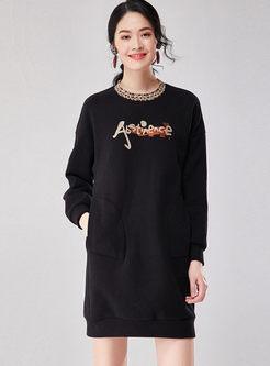 O-neck Letter Print Loose Sweatshirt Dress