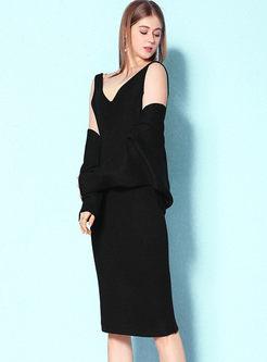 Bat Sleeve Asymmetric Coat & Slim Sweater Dress