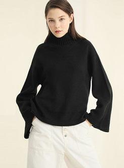 Turtleneck Flare Sleeve Loose Sweater
