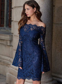 Slash Neck Flare Sleeve Lace Bodycon Dress