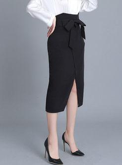 Black Bowknot High Waisted Slit Skirt