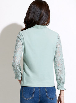 Casual Patchwork Lace Openwork T-shirt