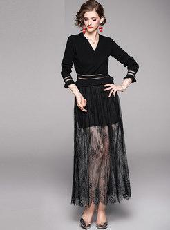 V-neck Knit Top & Mesh Perspective Skirt