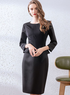 Work O-neck Falbala Patchwork Split Bodycon Dress