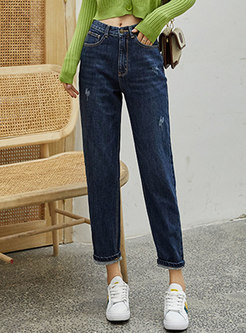 Casual High Waisted Thick Straight Denim Pants