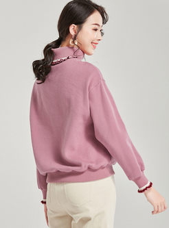Casual Letter Embroidered Pullover Sweatshirt
