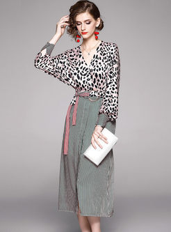 V-neck Bat Sleeve Leopard Patchwork Pleated Dress